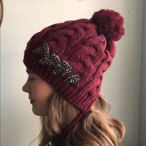 Knit hat with crystal detail
